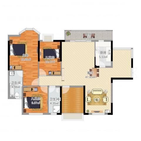 龙汇・领峰3室1厅2卫1厨146.00㎡户型图