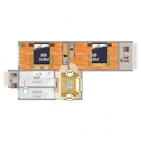 荷香村2室1厅1卫1厨65.00㎡户型图