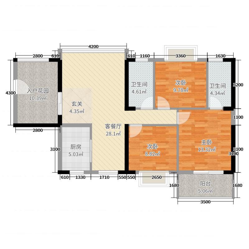海景1号131311.77㎡3#01户型3室2厅2卫1厨