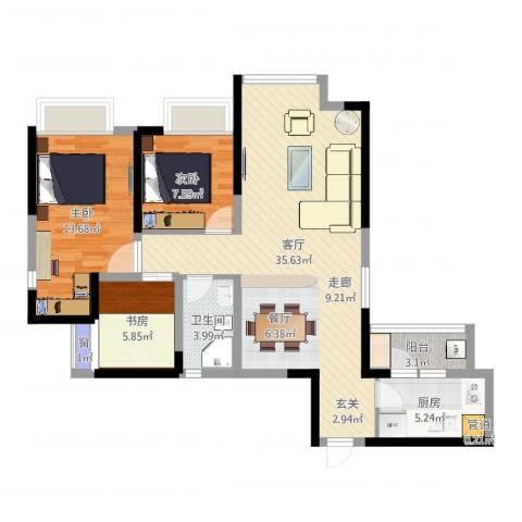 中铁城锦南汇3室1厅3卫1厨95.00㎡户型图