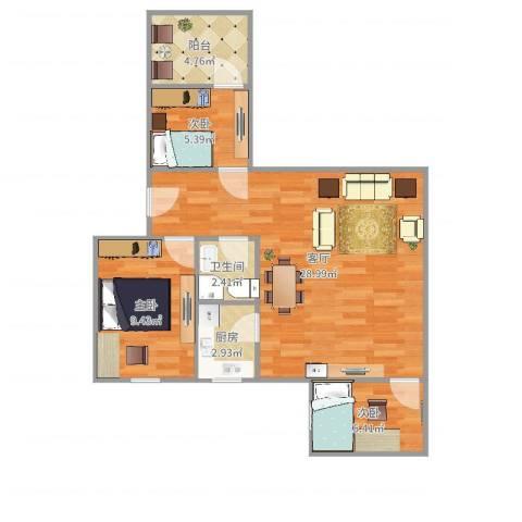 中信苑3室1厅1卫1厨74.00㎡户型图