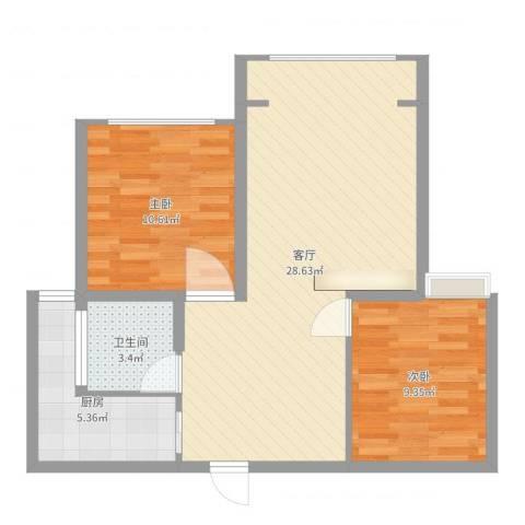 瑞和城2室1厅1卫1厨72.00㎡户型图