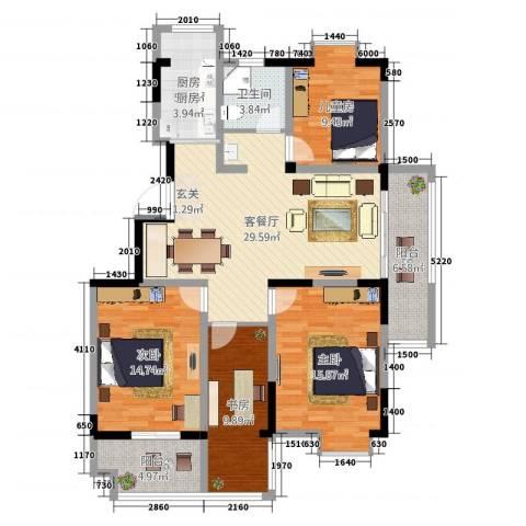 香缇豪庭4室2厅1卫1厨145.00㎡户型图