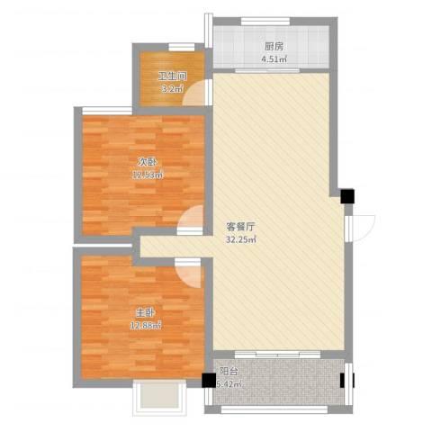 怡兰苑2室2厅1卫1厨101.00㎡户型图