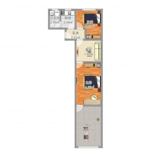 密山新村2室1厅1卫1厨67.00㎡户型图