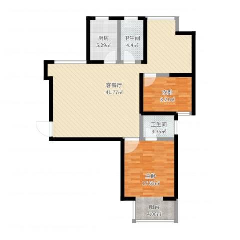 华府御城2室2厅2卫1厨101.00㎡户型图