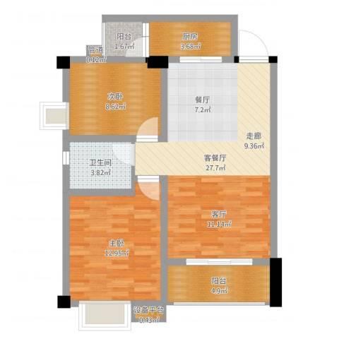 鸿阁一号2室2厅3卫1厨80.00㎡户型图