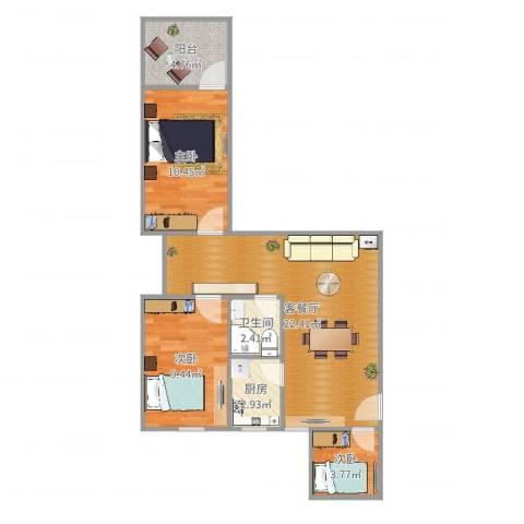 中信苑3室2厅1卫1厨70.00㎡户型图