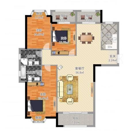 侨成金沙城3室2厅2卫1厨138.77㎡户型图