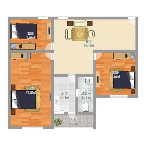金鼎大厦3室1厅1卫1厨65.93㎡户型图