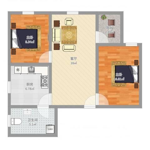 富力千禧花园2室1厅1卫1厨65.00㎡户型图
