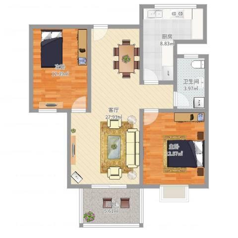 爵仕悦恒大国际公寓2室1厅1卫1厨89.00㎡户型图
