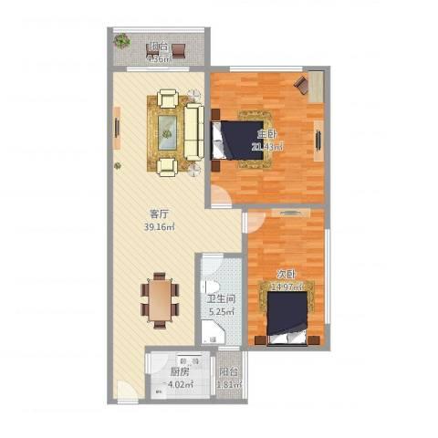皓月花园2室1厅1卫1厨114.00㎡户型图