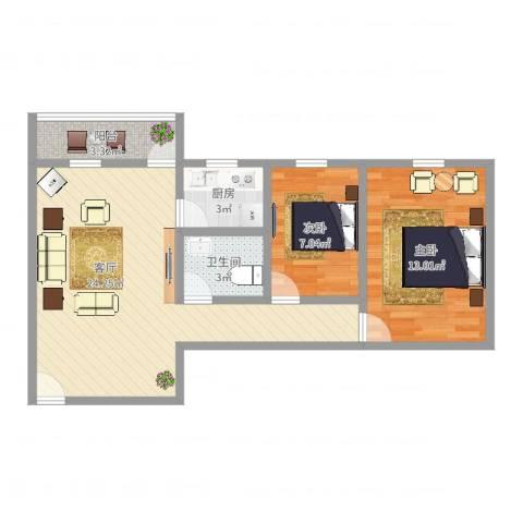 金雅苑2室1厅1卫1厨67.00㎡户型图
