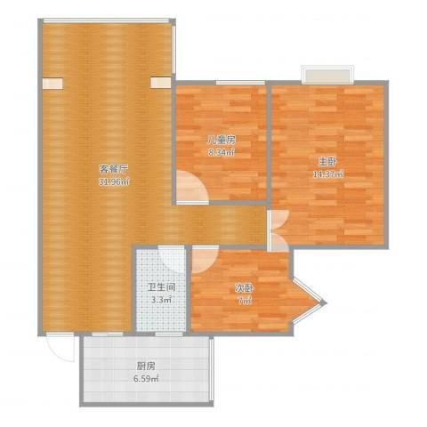 新城一号3室2厅1卫1厨89.00㎡户型图