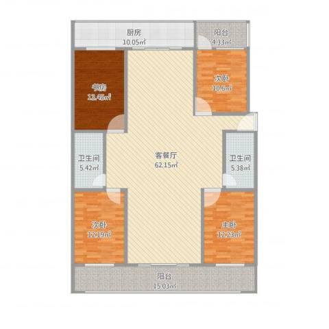 长盛小区4室2厅2卫1厨189.00㎡户型图