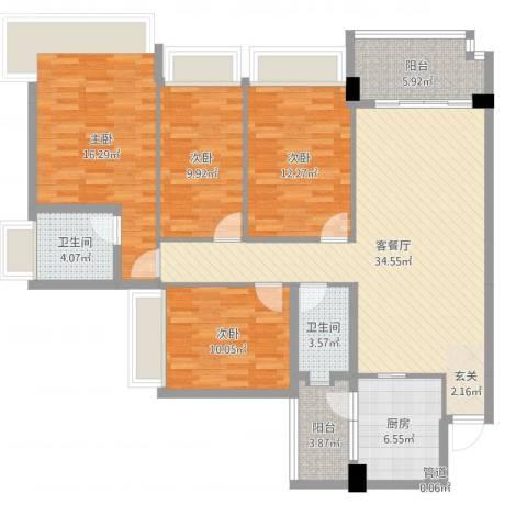 雅居乐岭会4室2厅2卫1厨134.00㎡户型图