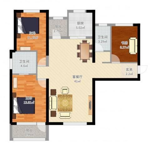 红星海青屿蓝3室2厅2卫1厨117.00㎡户型图