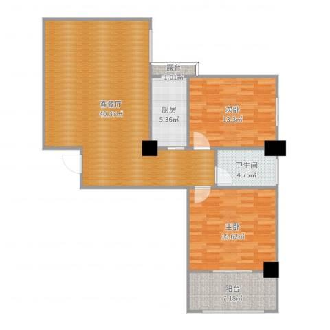 中盛・凤凰假日2室2厅1卫1厨109.00㎡户型图
