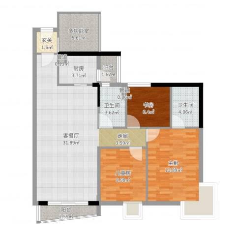 海富花园三期3室2厅2卫1厨105.00㎡户型图