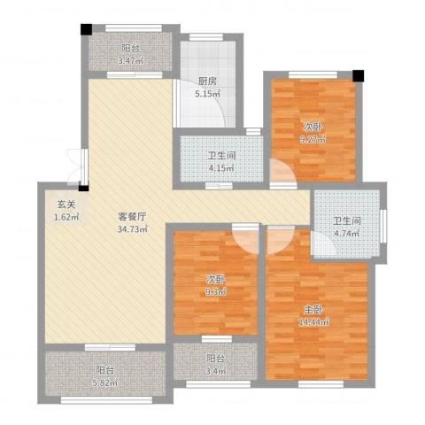 翠湖天地三期3室2厅2卫1厨118.00㎡户型图