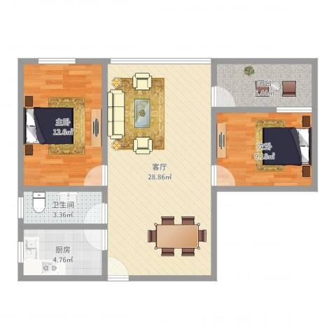 天海庭2室1厅1卫1厨80.00㎡户型图
