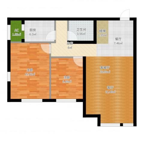 保利金香槟2室2厅1卫1厨89.00㎡户型图