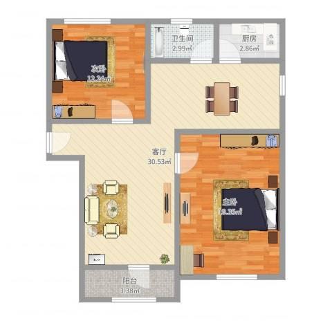 泰和新城2室1厅1卫1厨89.00㎡户型图