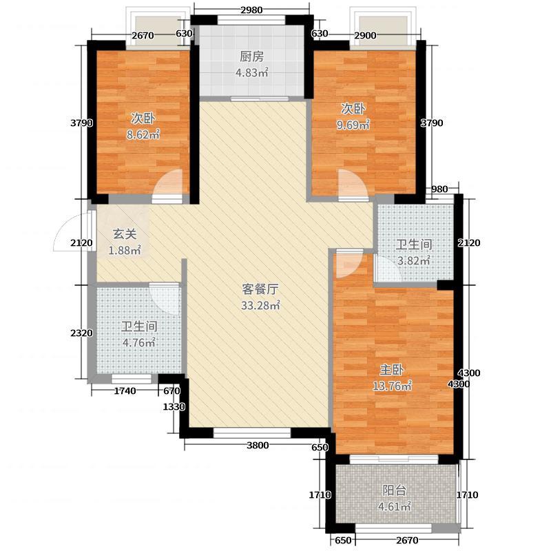 泰岩锦江城13117.41㎡E1户型3室2厅2卫1厨