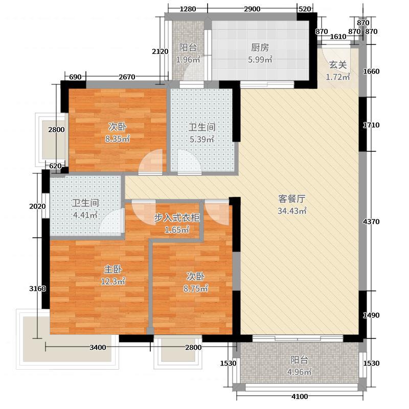 滨河佳苑118.59㎡C2_户型3室3厅2卫1厨