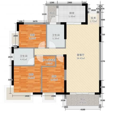 滨河佳苑3室2厅2卫1厨119.00㎡户型图