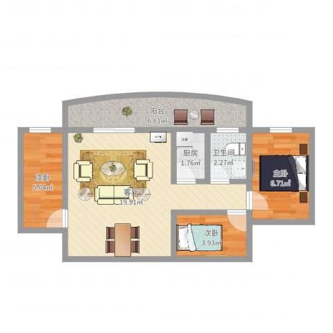 华颖花园3室1厅1卫1厨58.00㎡户型图