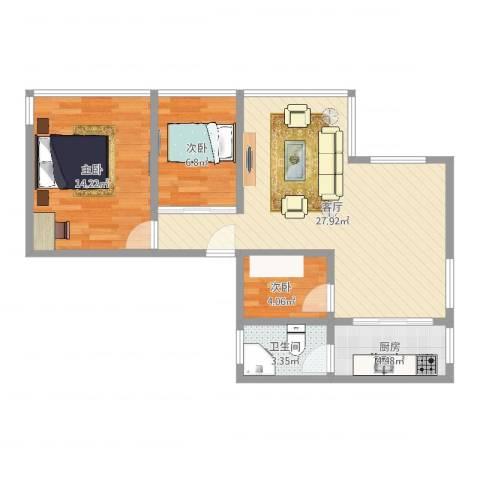 保利红棉花园3室1厅1卫1厨76.00㎡户型图