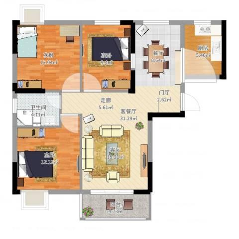 长航蓝晶国际3室2厅1卫1厨99.00㎡户型图