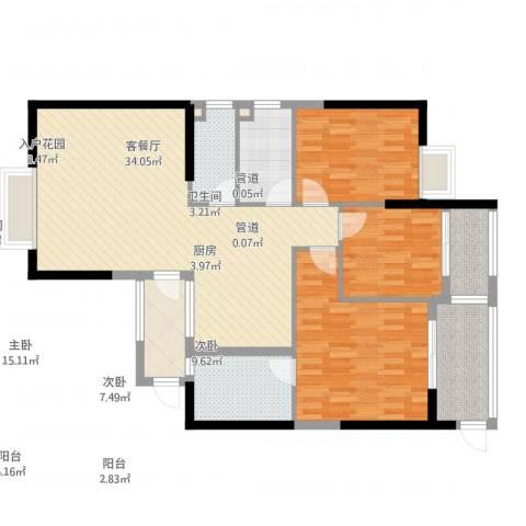 同城四季3室2厅2卫1厨129.00㎡户型图