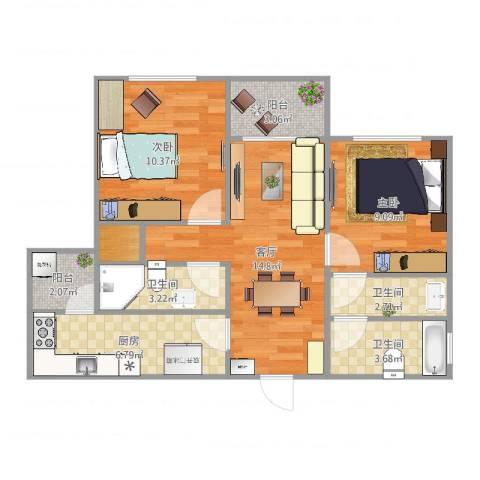 富力国际公馆2室1厅3卫1厨71.00㎡户型图