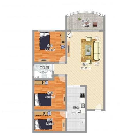 建丽花园3室1厅1卫1厨108.00㎡户型图