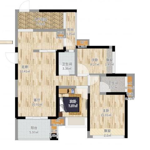 建曙高尔夫1号3室1厅5卫3厨113.00㎡户型图
