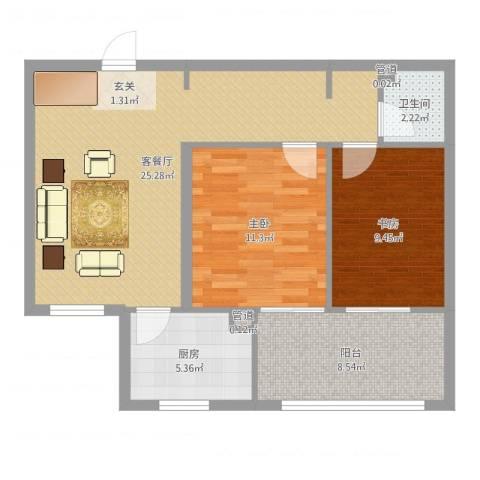 南海国际2室2厅1卫1厨78.00㎡户型图