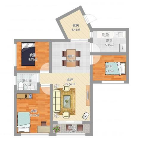 龙华花半里2室1厅1卫1厨75.00㎡户型图