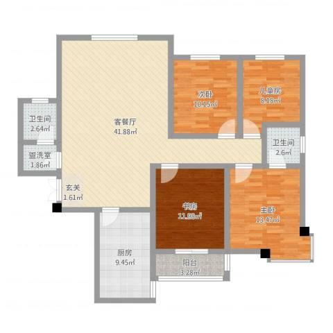 阳光嘉苑4室4厅2卫1厨132.00㎡户型图