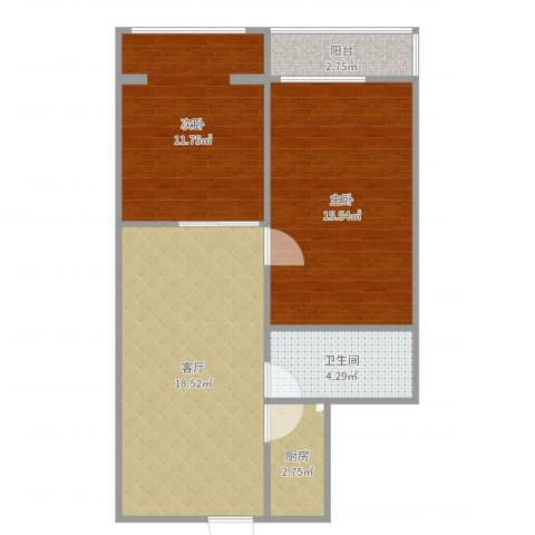 福桥里2室1厅1卫1厨69.00㎡户型图