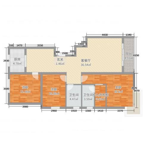 上东阳光3室2厅2卫1厨136.00㎡户型图