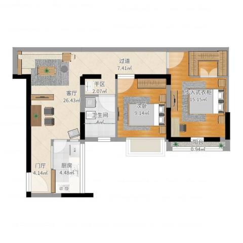 招商观园1室1厅1卫1厨75.00㎡户型图