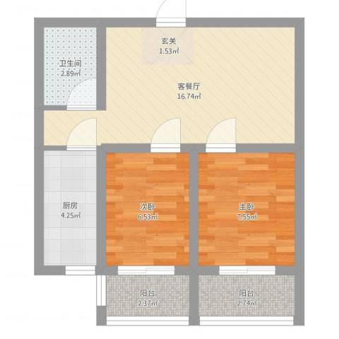 新希望乐城2室2厅1卫1厨64.00㎡户型图