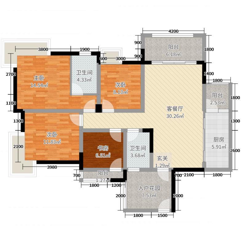 四海国际124132.45㎡X1-2户型4室2厅2卫1厨
