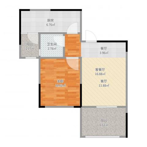 融汇半岛爱窝1室2厅1卫1厨56.00㎡户型图