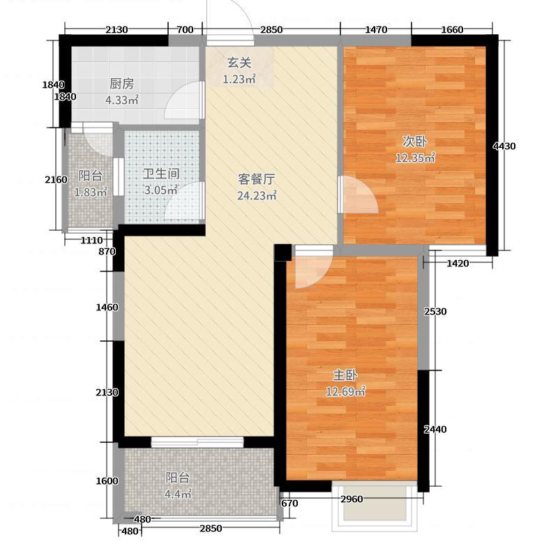 泰岩锦江城22.14㎡C2户型2室2厅1卫1厨