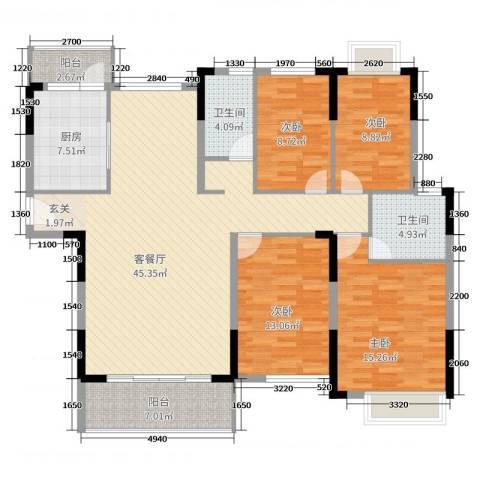 滨河佳苑4室2厅2卫1厨164.00㎡户型图