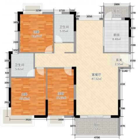 滨河佳苑3室2厅2卫1厨143.00㎡户型图